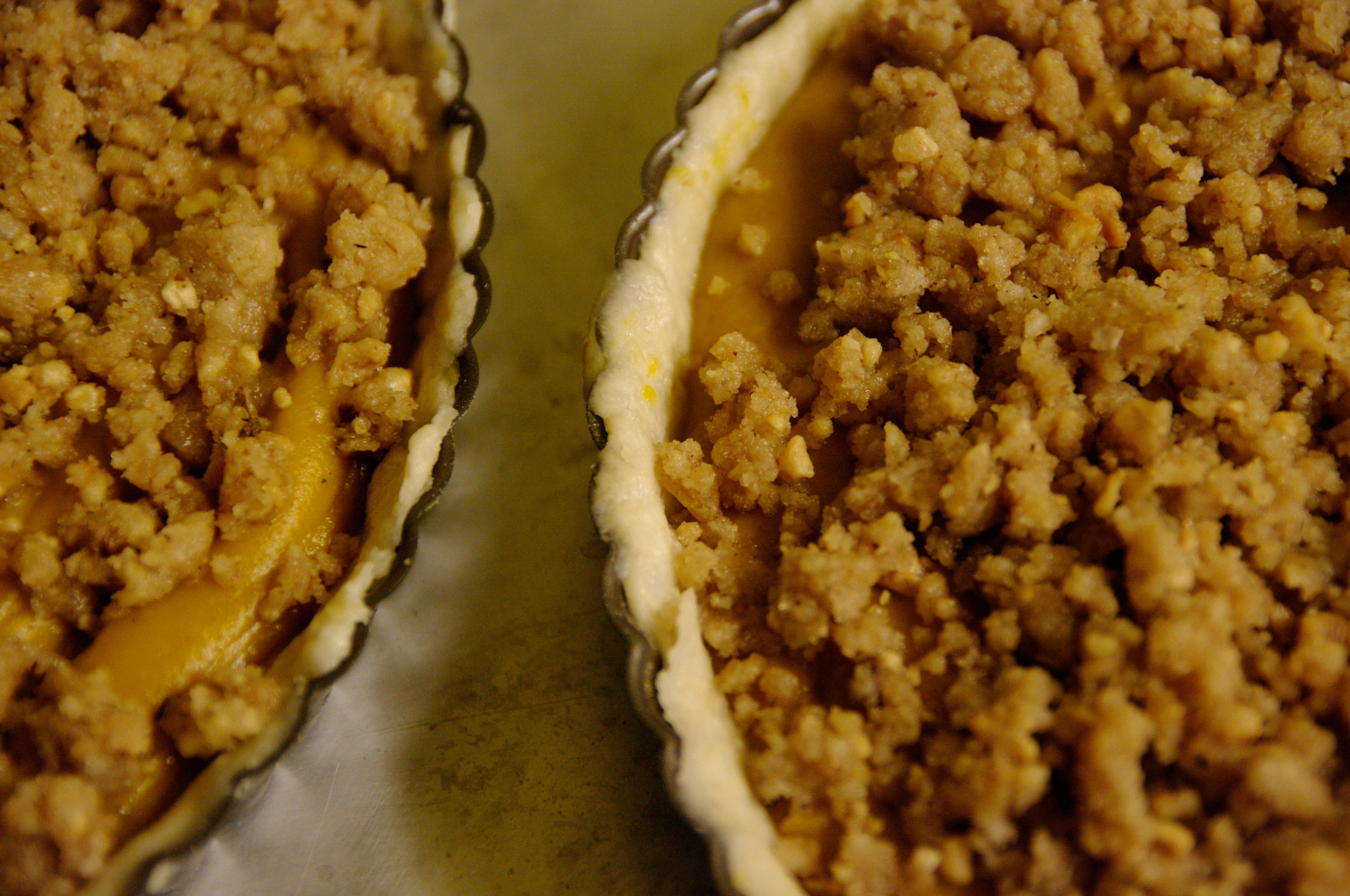 Pumpkin bourbon tart with walnut streusel.